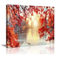 Schilderij - Winter Meer, Hoogwaardige print, 80x60
