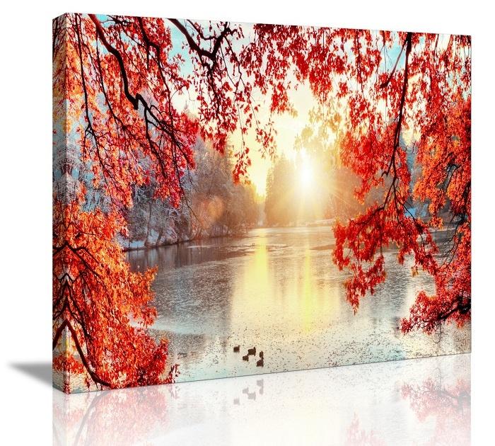 Schilderij - Winter Meer, 80x60
