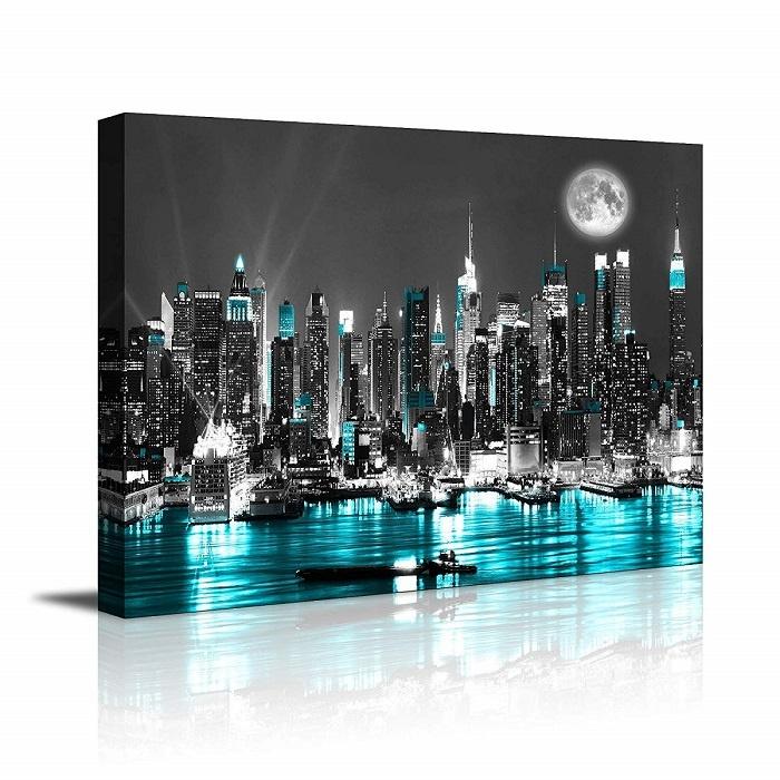 Schilderij - New York Blauwe Nacht, 80x60
