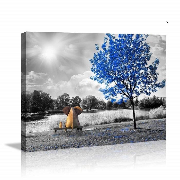 Schilderij - Olifant op bankje, 80x60
