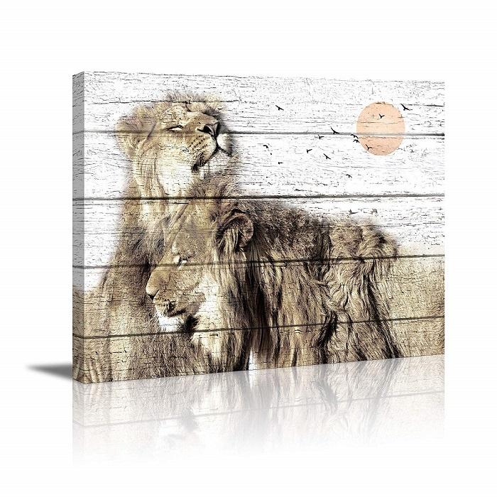 Schilderij - Leeuwenkoppel op canvas, 80x60