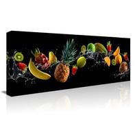 Schilderij - Verfrissend Fruit, prachtig voor in de keuken, 120x40