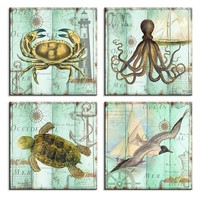 Schilderij - Zeedieren, 4x 30x30