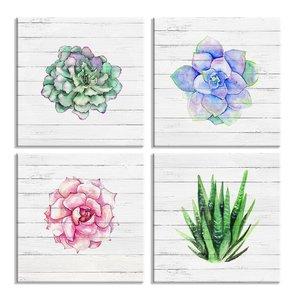 Schilderij - Bloemen en Planten, 4x 30x30