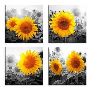 Schilderij - Zonnebloemen, 4x 30x30