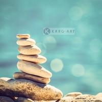 Karo-art Schilderij - Stenen in de zon, Beige blauw , 3 maten , Premium print