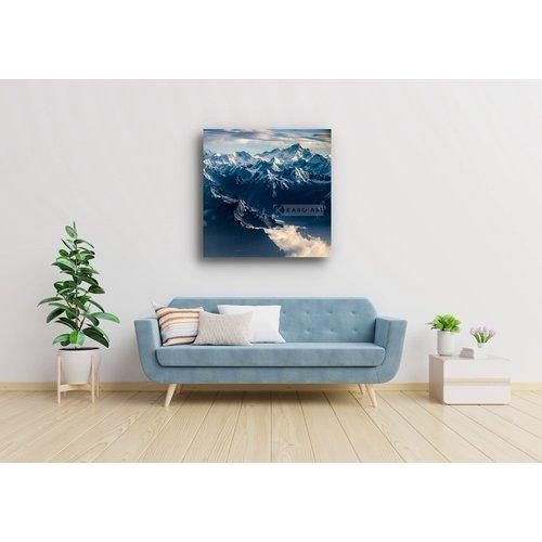 Karo-art Afbeelding op acrylglas  - Himalaya , Blauw wit, 3 maten , Wanddecoratie