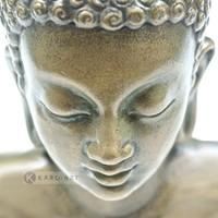 Karo-art Schilderij - Denkende Boeddha , Beige wit , 3 maten , Premium print
