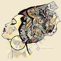 Karo-art Schilderij - Afrikaanse vrouw , Multikleur , 3 maten , Premium print
