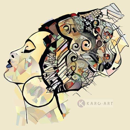 Karo-art Afbeelding op acrylglas  - Afrikaanse vrouw , Multikleur , 3 maten , Premium print