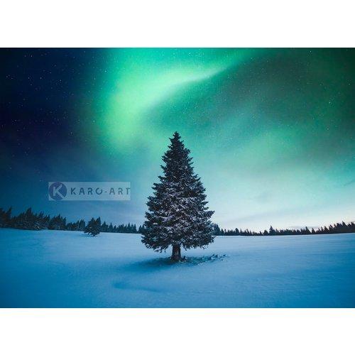 Karo-art Schilderij - Noorder licht Kerstboom , Blauw groen , 3 Maten , Wanddecoratie
