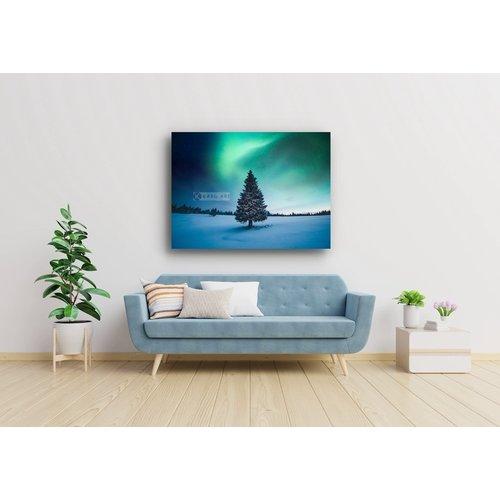 Karo-art Afbeelding op acrylglas - Noorder licht Kerstboom , Blauw groen , 3 Maten , Wanddecoratie