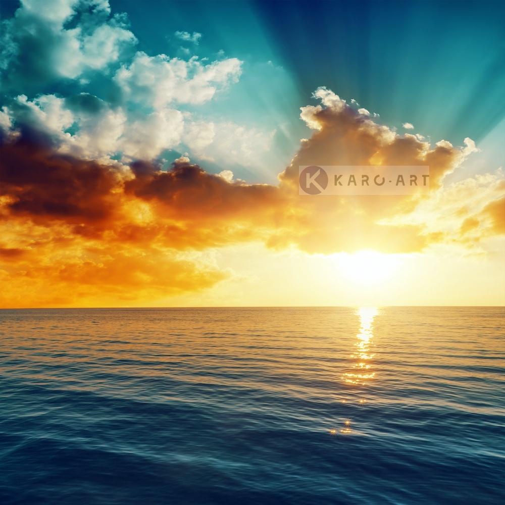 Schilderij -Zonsondergang op zee , Multikleur , 3 maten , Wanddecoratie