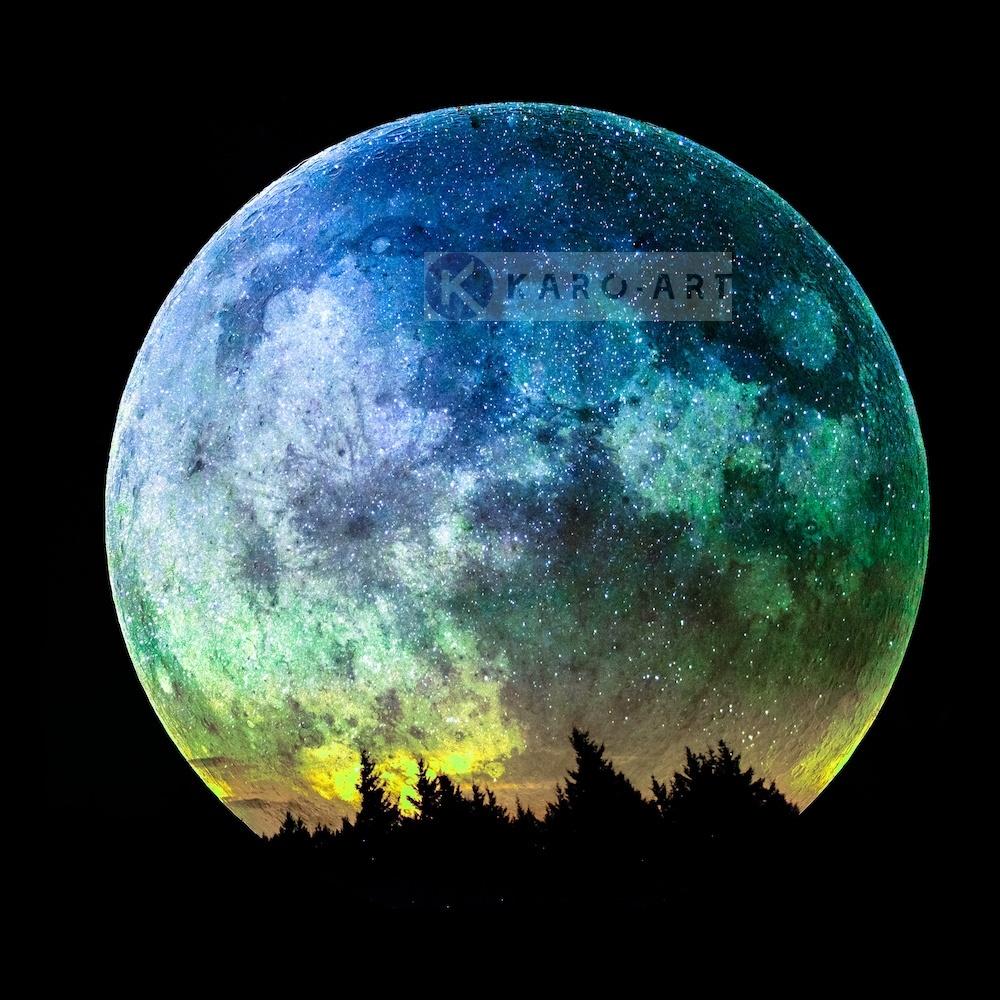 Schilderij - Gekleurde Volle Maan , Blauw zwart , 3 maten , Premium print