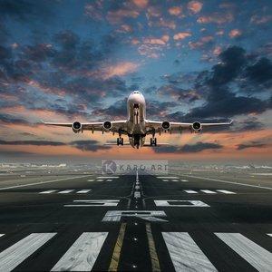 Karo-art Schilderij - Opstijgende Vliegtuig , Multikleur , 3 maten , Premium print