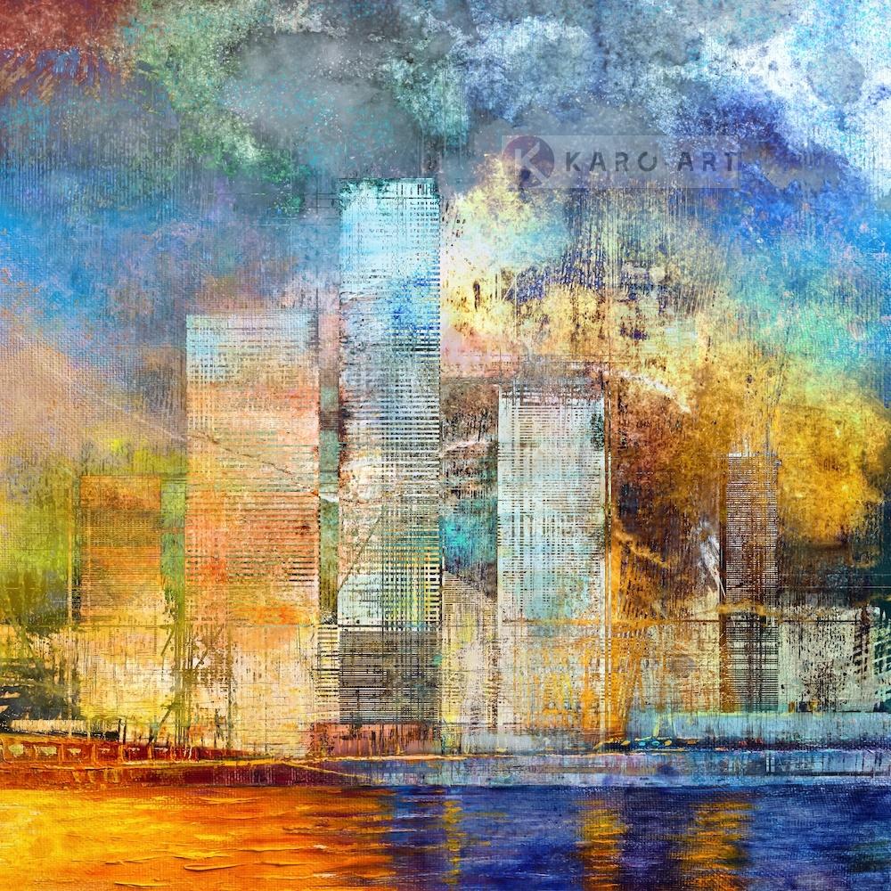 Afbeelding op acrylglas - Grote Stad , Multikleur , 3 maten , Premium print