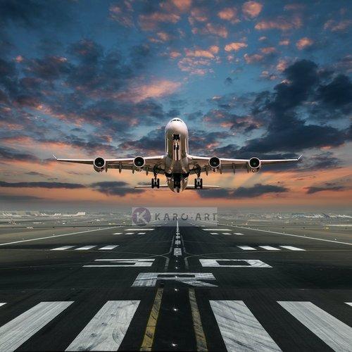 Karo-art Afbeelding op acrylglas  - Opstijgende Vliegtuig , Multikleur , Premium print