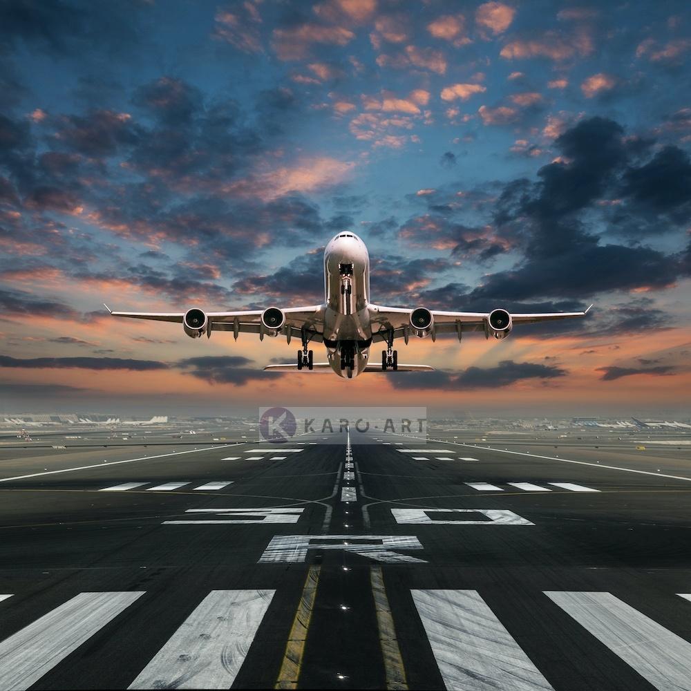 Afbeelding op acrylglas - Opstijgende Vliegtuig , Multikleur , Premium print