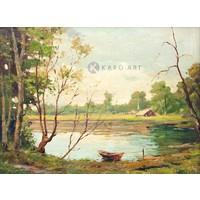 Karo-art Schilderij - Boot op meer, print op canvas