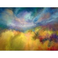 Karo-art Schilderij - Zomer landschap - Print op canvas, Geel blauw , 3 maten , Premium print