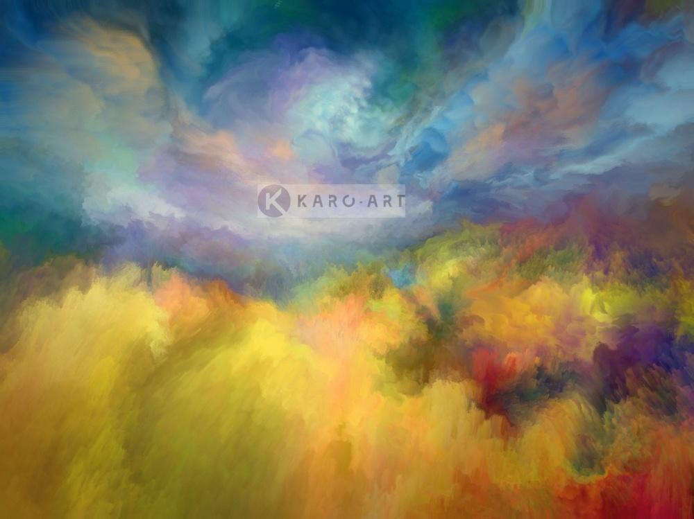 Schilderij - Zomer landschap - Print op canvas, Geel blauw , 3 maten , Premium print
