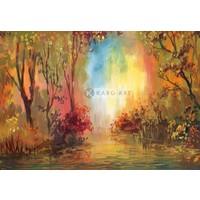 Karo-art Schilderij - Herfst landschap - Print op canvas , Multikleur , 3 maten , Premium print