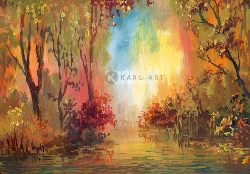 Karo-art Schilderij - Herfst landschap - Print op canvas