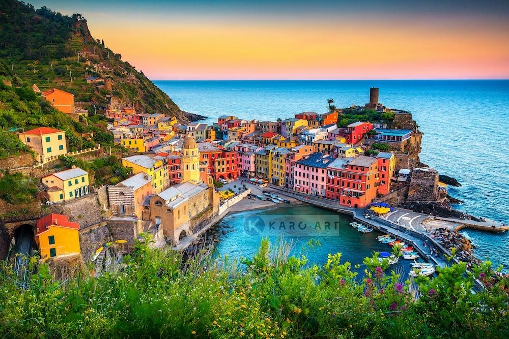Schilderij - Ligurie, Italie , Multikleur , 3 maten , Premium print
