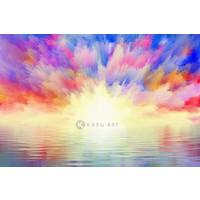 Karo-art Schilderij - Explosieve zonsondergang - Print op canvas