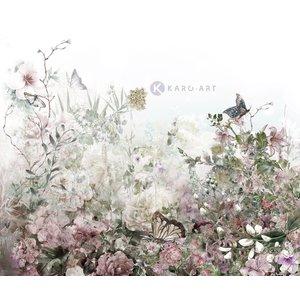 Karo-art Schilderij - Aquarel bloemenveld - Print op canvas
