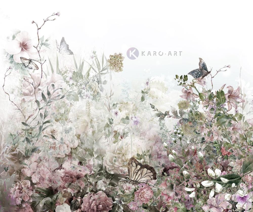 Schilderij - Aquarel bloemenveld - Print op canvas, Multikleur , 3 maten , Wanddecoratie