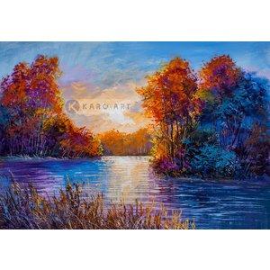 Karo-art Schilderij - Herfst op de rivier - Print op canvas