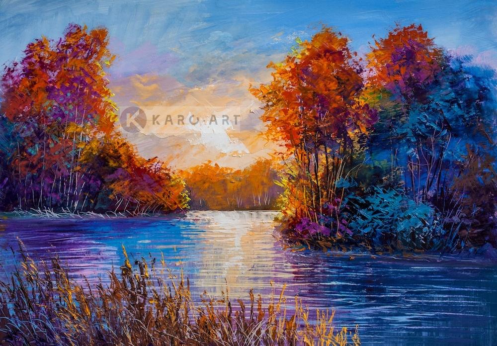 Schilderij - Herfst op de rivier - Print op canvas , Multikleur , 3 maten , Premium print