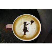 Karo-art Schilderij - Banksy, meisje met ballon, Hoop, Latte Art , Beige Bruin , 3 maten , Wanddecoratie