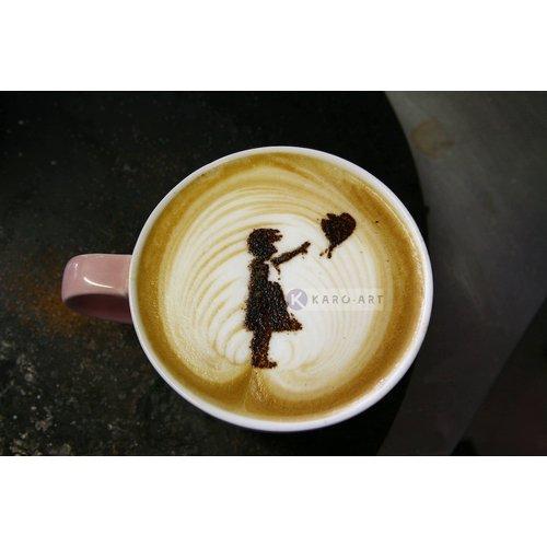 Karo-art Afbeelding op acrylglas - Banksy, meisje met ballon, Hoop, Latte Art , Beige Bruin , 3 maten , Wanddecoratie
