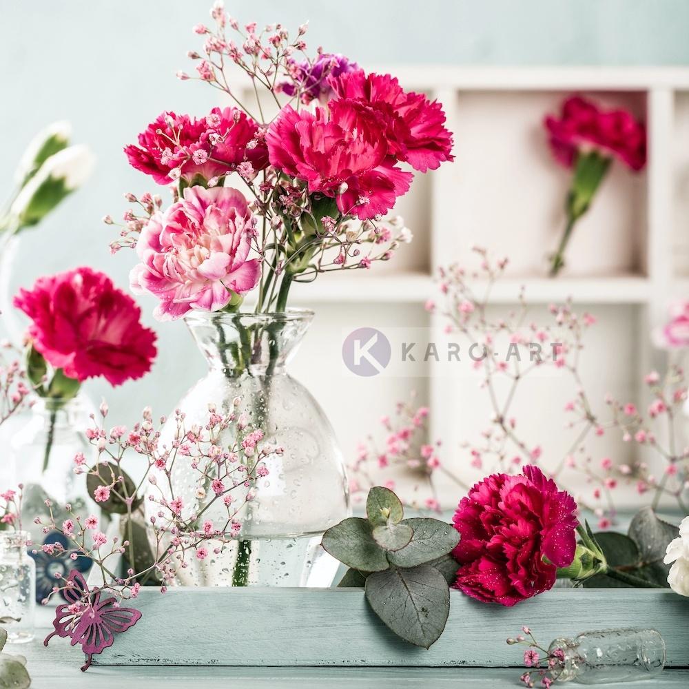 Afbeelding op acrylglas - Roze Anjers , Multikleur , 3 maten , Premium print