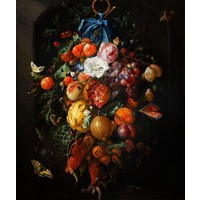 Karo-art Schilderij - Festoen van vruchten en bloemen,  Jan davidsz de Heem, Print op canvas