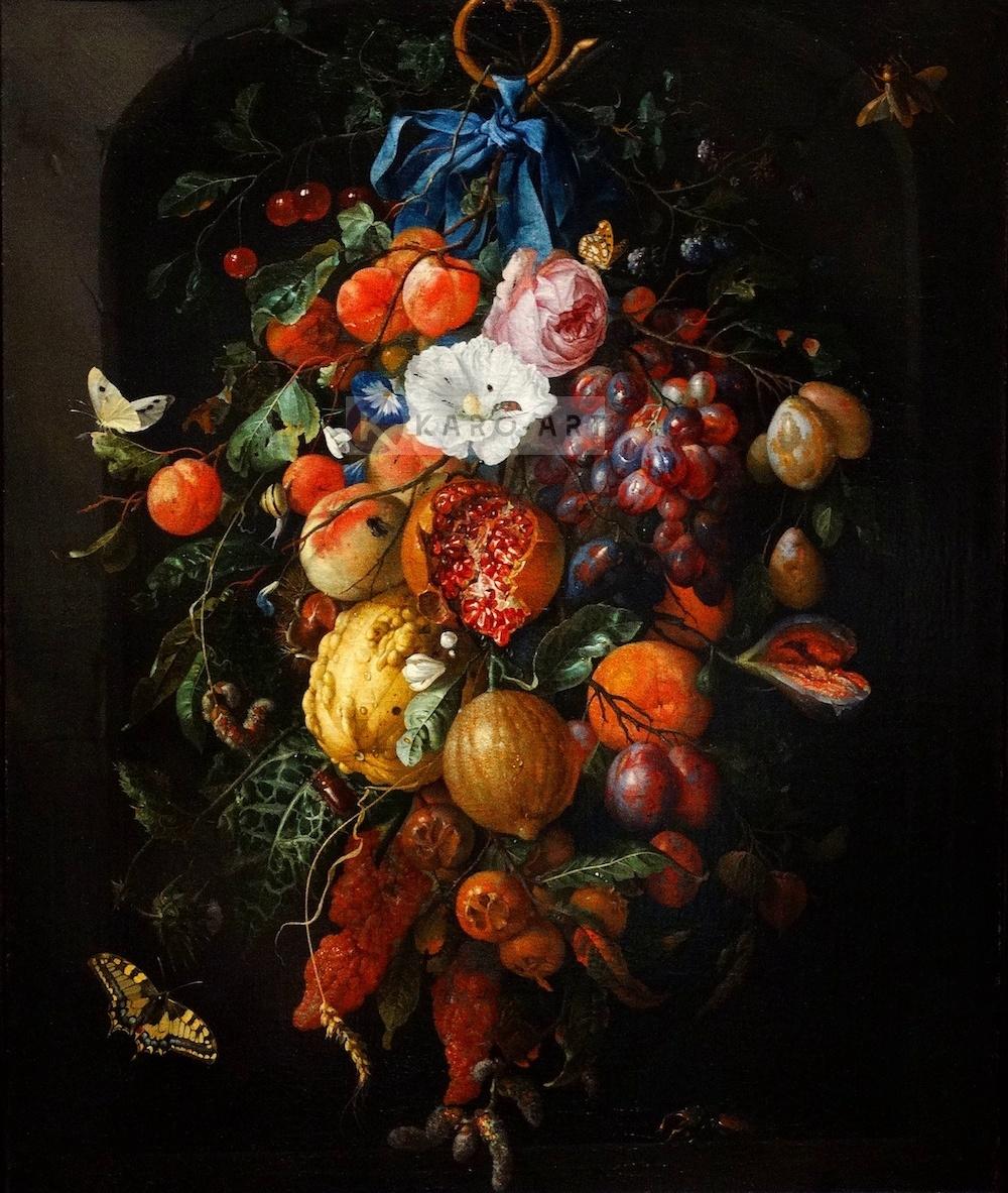 Schilderij - Festoen van vruchten en bloemen, Jan davidsz de Heem, Print op canvas