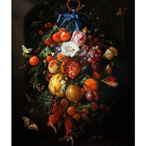 Karo-art Afbeelding op acrylglas - Festoen van vruchten en bloemen,  Jan davidsz de Heem