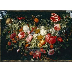 Karo-art Schilderij - Slinger van bloemen en fruit, Jan Davidsz de Heem , print op canvas
