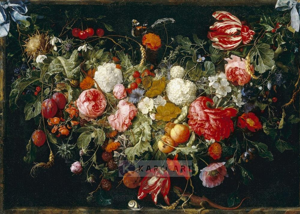 Afbeelding op acrylglas - Slinger van bloemen en fruit, Jan Davidsz de Heem