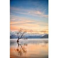 Karo-art Schilderij - Meer Wanaka Otago, Nieuw-Zeeland , Multikleur , 3 maten , Premium print