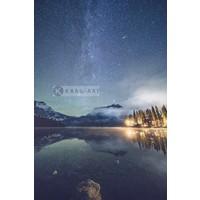 Karo-art Schilderij - Emerald Lake, Melkweg