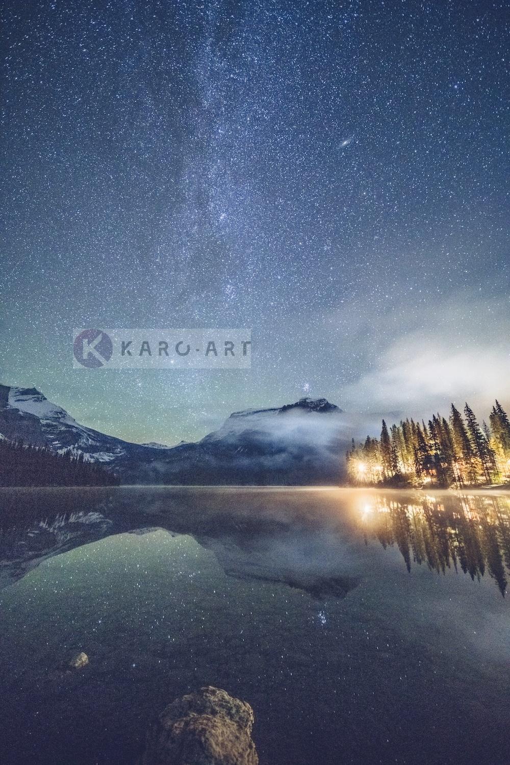 Afbeelding op acrylglas - Emerald Lake, Melkweg