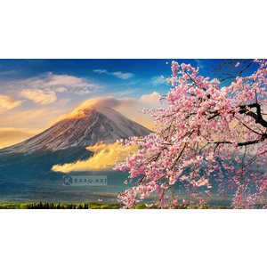 Karo-art Schilderij - Vulkaan Fuji, Bloesem, Japan , Multikleur , 3 maten , Premium print