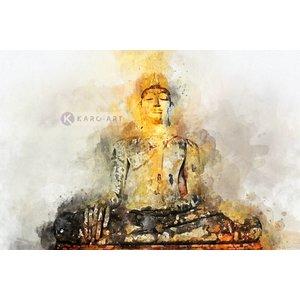 Karo-art Schilderij - Boeddha in Aquarel (print op canvas), Multikleur , 3 maten , Wanddecoratie