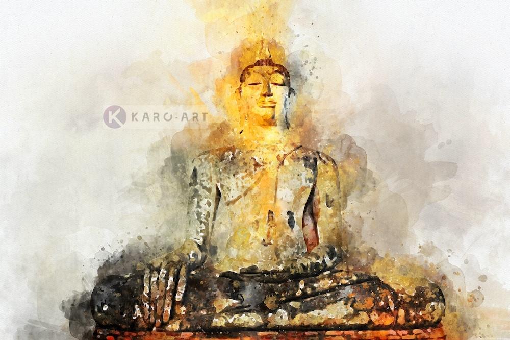 Schilderij - Boeddha in Aquarel (print op canvas)