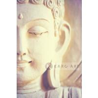 Karo-art Schilderij - Lichte Boeddha , Beige Bruin , 3 maten, Premium print
