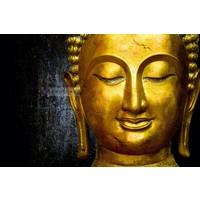 Karo-art Schilderij - Gouden Boeddha , Goudlook zwart , 3 maten , Wanddecoratie