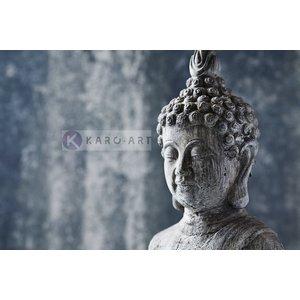 Karo-art Schilderij - Grijze Boeddha , Zwart wit , 3 maten , Premium print